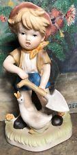 "Figurine Boy Goose Shovel Farm 7 7/8"" Tall"