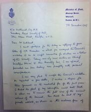 Sir Norman Wright - agricultural, nutritional scientist - 1947 ALS Ministry Food
