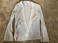LOFT Sweater Small Women's Gray Knit Drape Bell Sleeve Open Cardigan NWOT