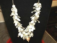 STUNNING STAND OUT IN THE CROWD!! WHITE CRYSTAL CLUSTER NECKLACE
