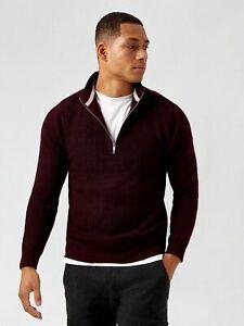 BURTON MENSWEAR LONDON Mens Red Half Zip Fisherman Jumper Sweater Pullover