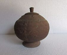 Vintage Old Iron Handcrafted Engraved Iron Metal Pot Matka Rare Collectible