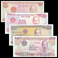 Vietnam Viet Nam 4 PCS Banknotes Set (200+500+1000+2000 Dong) UNC
