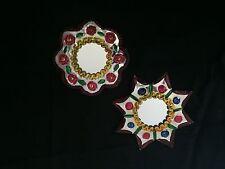 Mexican Folk Art Tin mirror  Christmas ornaments