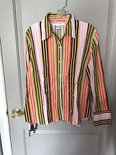 Ninety Clothing Women's Multicolored Vertical Striped Button Down Shirt Size XL