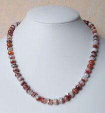 Edelsteinkette Rot Achat Collier 6,5 - 7 mm Perlen  45cm Halskette
