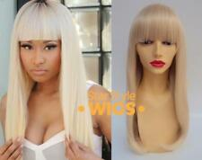 DELUXE LONG BLONDE STRAIGHT BARBIE RETRO FRINGE FASHION CELEBRITY WIG