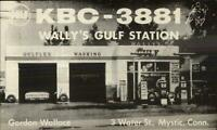 Mystic CT Wally's Gulf Gas Station 3 Water St. Postcard