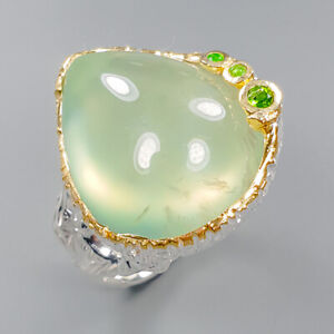 Prehnite Ring Silver 925 Sterling 30 ct Sweet Green Size 7 /R149006