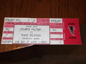 ATLANTA FALCONS MIAMI DOLPHINS TICKET DECEMBER 27, 1998 NFL FOOTBALL GA. DOME