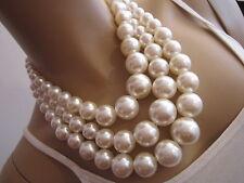 Modekette Damen Hals Kette Collier kurz Modeschmuck Perlen Weiss 3Reihig Blogger