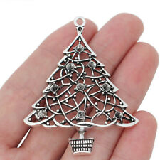 10X Tibetan Silver Tone Large Christmas Tree Charms Pendants for Necklace Making