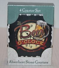 NIB Highland It's Beer O'Clock Absorbent Stone Coasters Set of 4 FREE Shipping!!