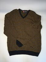 Mens Chaps V Neck Blue Yellow Striped Sweater Shirt Long Sleeve Size L COTTON