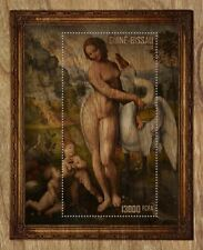 Guinea Bissau 2019 painting Leda and Swan by Leonardo da Vinci Wood s/s imperf.