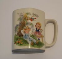 Vintage Little Boy Blue Hexagon Coffee Cup Nursery Rhyme Mug JAPAN