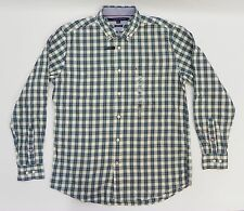 TOMMY HILFIGER Mens Shirt Classic Fit Long Sleeve Green Plaid Dress Shirt M