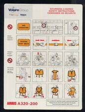 VOLARE Group sticker AIR EUROPE A 320 Airline SAFETY CARD no Alitalia sc866 aa