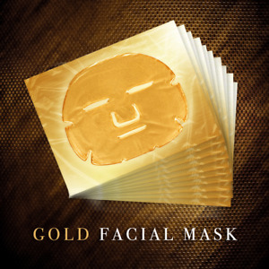 Pack of 1/5/10/20 New Crystal 24K Gold Gel Collagen Face Mask Sheet Hyaluronic
