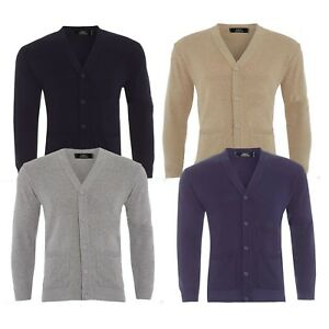 Mens Plain Knitted V Neck Buttoned Cardigan Fine Cotton Knitwear Warm Top