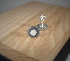 Silver Hex Nut Stud Earrings With White Pearl Acrylic Inlay ~ Handmade