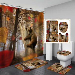 Forest Brown Bear Bath Mat Toilet Cover Rugs Shower Curtain Bathroom Decor