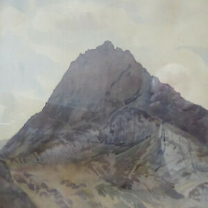 LARGE ANTIQUE/VINTAGE WATER COLOUR PAINTING OF MOUNTAIN - WELSH