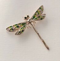 Unique vintage style   Dragonfly brooch pendant enamel on metal