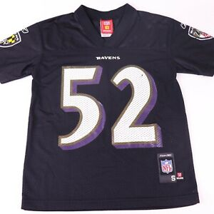 Ray Lewis Baltimore Ravens NFL Football Reebok Black Jersey Youth Size 8 Small
