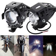 2pcs 125W U5 Motorcycle Motorbike Headlight LED Fog Spot Lights Bulb & Switch