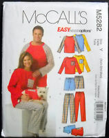 McCalls Pattern #M5282 Misses Mens Top Shorts Pants & Dog Top Size (Xsm-Sml-Med)