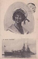 7738) MARINA, REGIA NAVE CAVOUR E RAGAZZA IN DIVISA DA MARINAIO. VIAGGIATA.