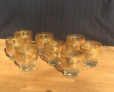 LOVELY Green Culver Gold 8oz drinking glasses | Barware set with gold and green