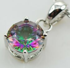 Mystic Topaz Round Cut Pendant with matching Earrings
