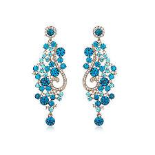 Blu Chiaro Royal Crystal istruzione orecchino placcato in oro 18K