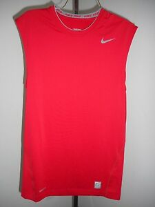 Nike Pro Dri Fit Fitted/Tight Base Layer-sleeveless/long sleeve-red/wht