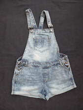 Denim Co distress/bleach denim style bib/braces playsuit / hotpants Size 10