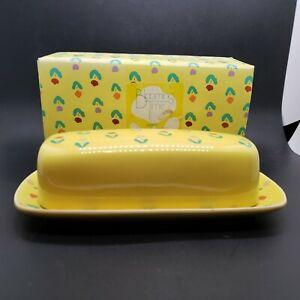 Vintage Blooming Time Yellow Ceramic Butter Dish Enesco Giftware 1985 in Box