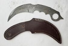 "9"" overall damascus Karambit blade Knife making blank w/ leather sheath - Payne"