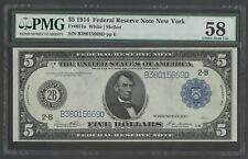 """FR851a $5 1914 FRN """"NEW YORK"""" PMG 58 CHOICE AU BU3668"""