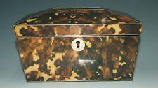 More details for antique faux tortoiseshell tea caddy