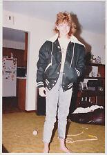 Vintage 80s PHOTO Teen Girl In Letterman Jacket