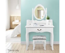 Dressing Table Single Drawer Makeup With Stool 360 degree Rotatable Mirror White