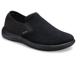 Men's Crocs Reviva Slip On Loafer Shoes Suede Black Size 10 NWT