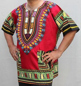 Dashiki African *Hippie Mexican*Poncho Tribal T-Shirts 100% Cotton Bright RED