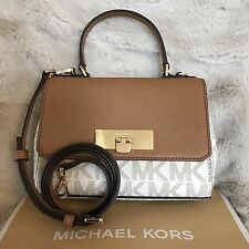 NWT MICHAEL KORS SIGNATURE CALLIE FLAP XS CROSSBODY BAG IN VANILLA/ACORN