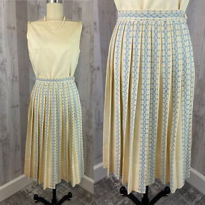 1940s Vintage 2pc TOP/SKIRT French Blue Ivory Accordion Pleats Outfit Small