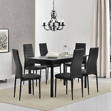[en.casa]® Esstisch mit 6 Stühlen schwarz 140x60cm Küchentisch Esszimmertisch