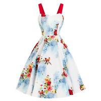 Hearts & Roses London Blue Red Floral Bird Vintage Retro 1950s Flared Tea Dress