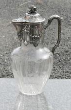 Jugendstil Glaskaraffe,Frankreich,Silbermontur 950 Mercury,Kristall geschliffen
